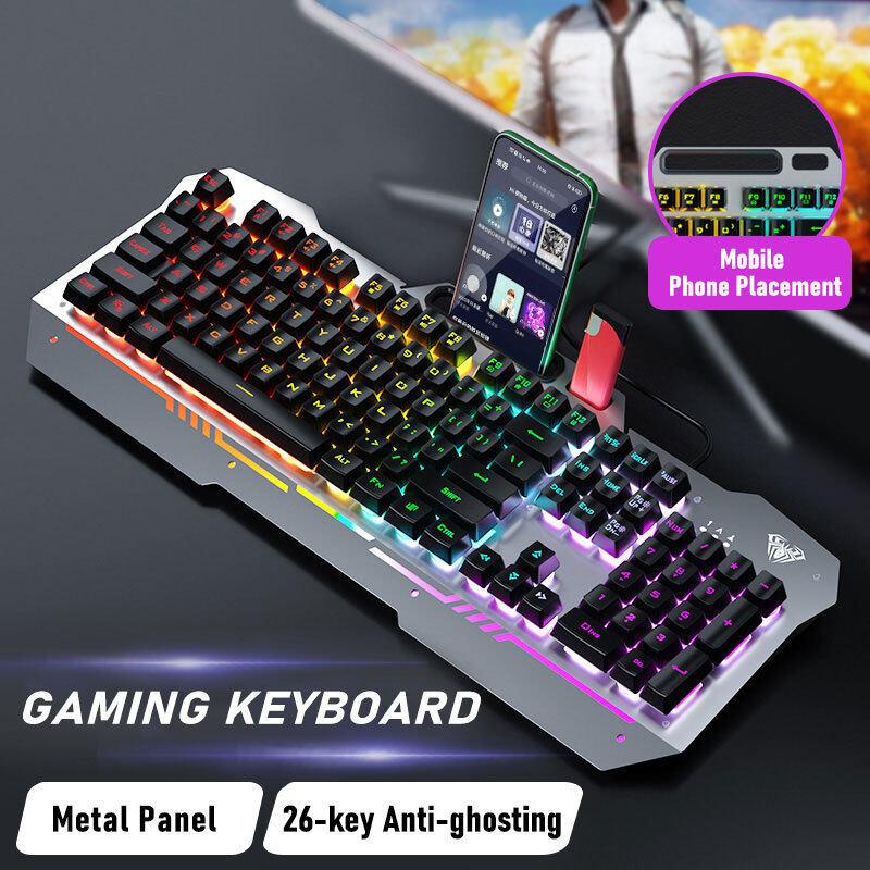 AULA F3010 Wired Gaming Keyboard 26 Keys hand rest Ergonomic Metal Panel Mix Macro Programming Backlit LED Gamer Keyboard for PC Gamer Singapore