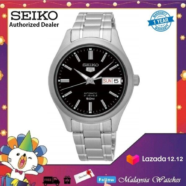 Seiko 5 SNK883K1 Automatic See-Through Back Case Black Dial 50m Stainless Steel Watch Malaysia