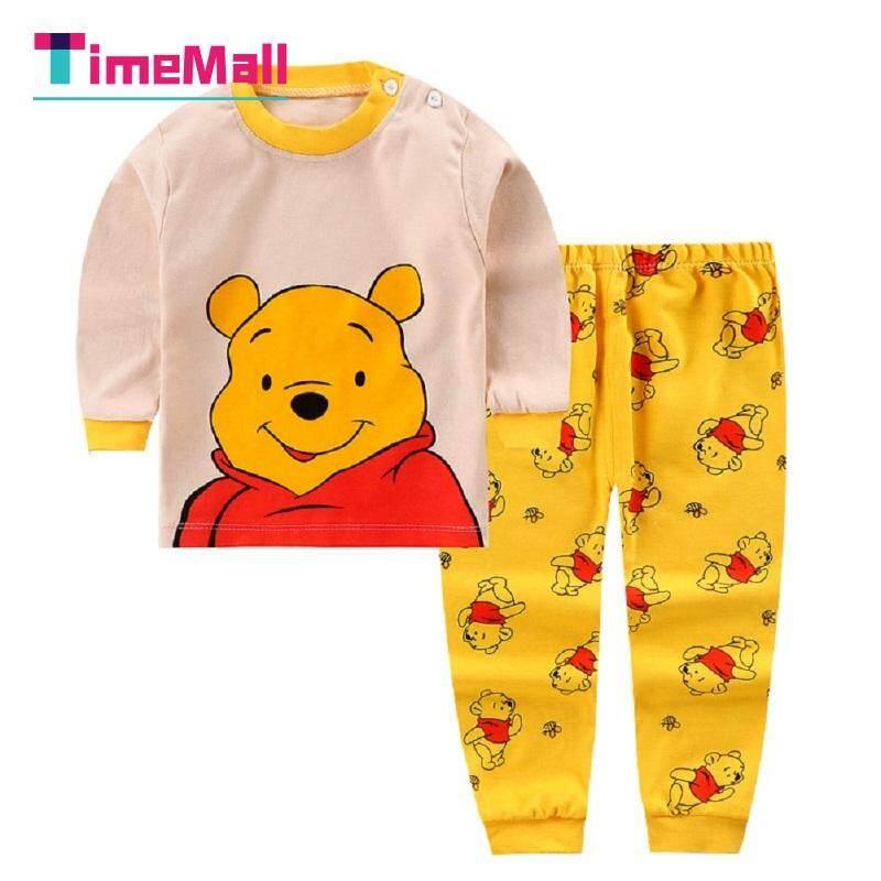 Timemall เด็กผ้าฝ้ายชุดนอนสวมใส่ 2 ชิ้น/เซ็ตเด็กชุดนอนเด็กเสื้อแขนยาว + กางเกงชุด
