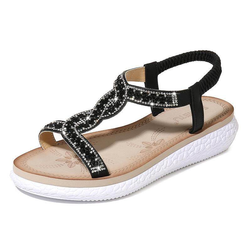 6883d1da711 2019 New European and American Style Glass Rhinestone Beach Women s Sandals  Large Size Women s Shoes