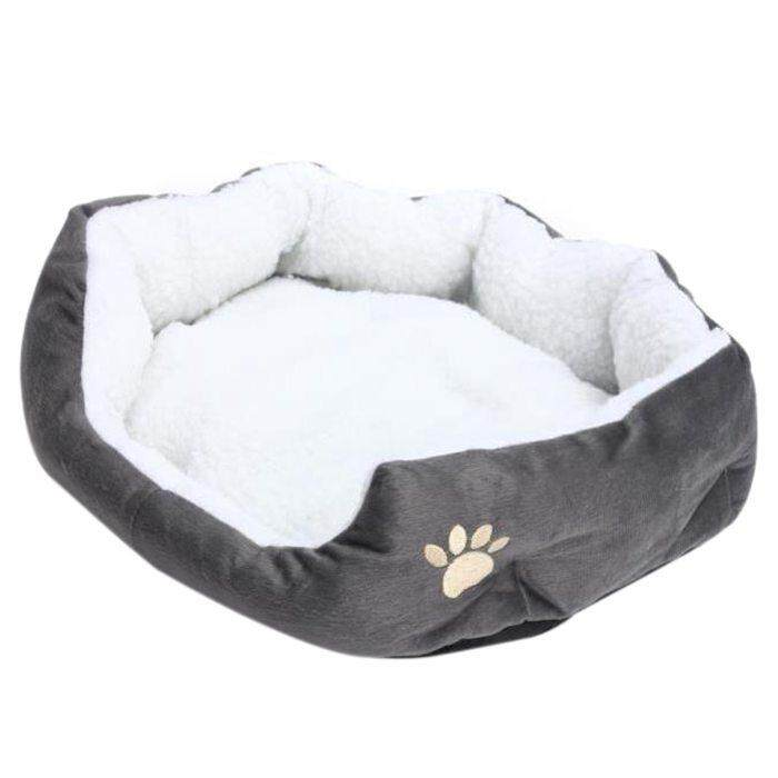 50 X 40cm Lambskin Dog Paw Pattern Pets Nest Warm Washable Bed Sleeping Fleece Basket With Cushion For Puppy Dog Cat Gray Color By Rainning.