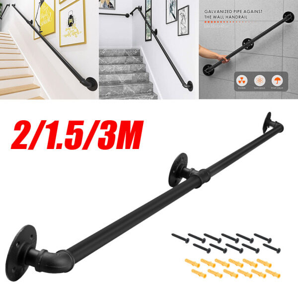 2 Size 【100% Original,in stock】Handrail For Indoor Stair Black Metal Railing Non-Slip Grab Bar Industrial Galvanized Steel Pipe Wall Mount Banister Iron Baluster For Stair