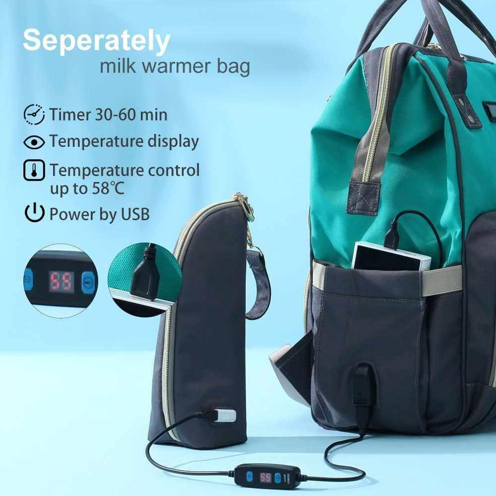 Diaper Bag Backpack Accessories Stroller Strap Changing Mat Wet Bag USB Bottle Warmer Bag (Black)
