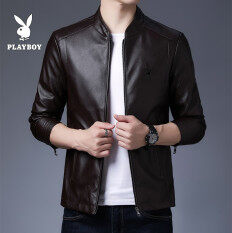 PLAYBOY Men's Leather Coat Slim Korean Style Handsome Leather Jacket Male Brushed And Thick Locomotive Youth Autumn And Winter Trend Coa(M-4XL)