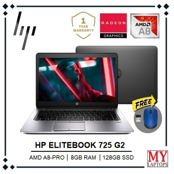 HP ELITEBOOK 725 [AMD A8 PRO 7180B / 8GB RAM / 128GB SSD / AMD RADEON R6 GRAPHICS] WINDOWS 10 PRO / 1 YEAR WARRANTY Malaysia