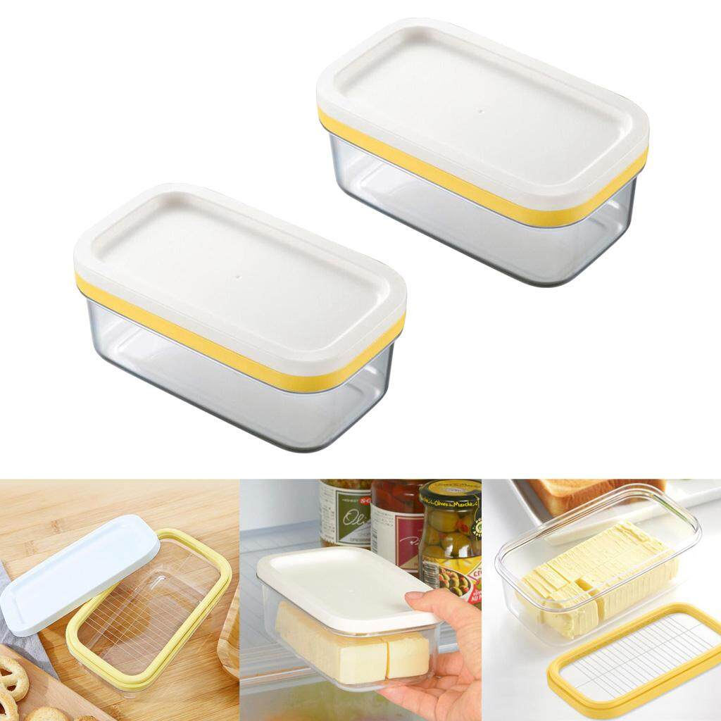 Bolehdeals 2x Plastic Butter Dish Tray Holder Kitchen Fridge Storage With Cutter Slicer By Bolehdeals