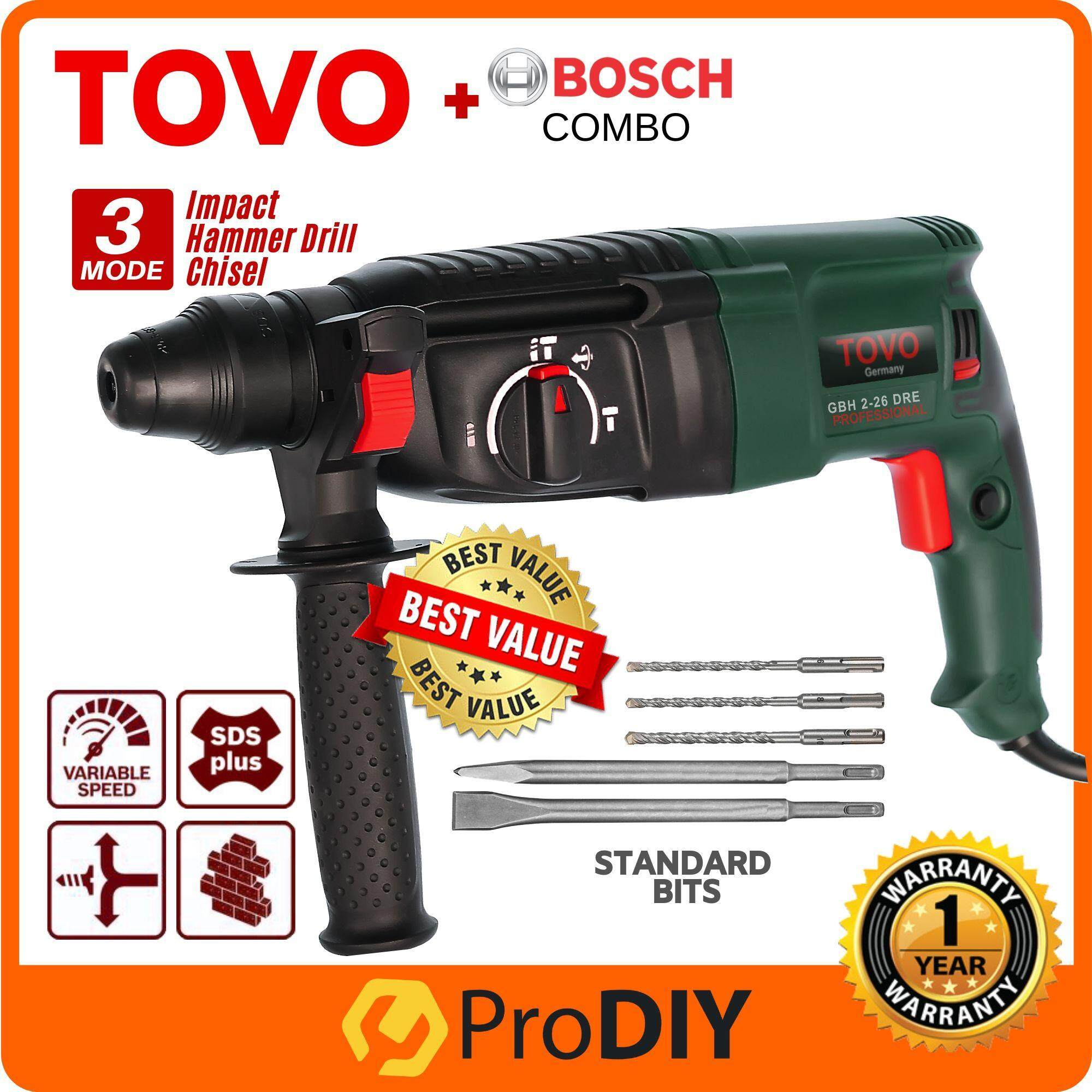 TOVO GBH 2-26 DRE Rotary Hammer Drill 800W 26mm With Handle Add On Bosch  Concrete Bits