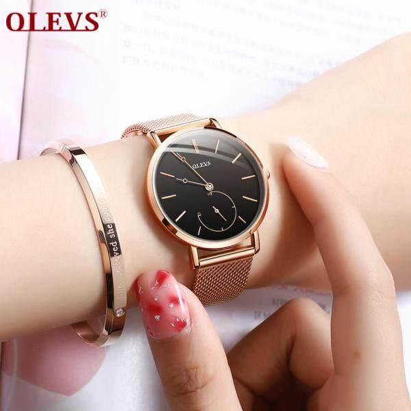 OLEVS Luxury Fashion Women Watch Rose gold Mesh belt Dress Black dial Ladies Watch Quartz D Wrist Watches W Gift Dropshipping smart watch Malaysia