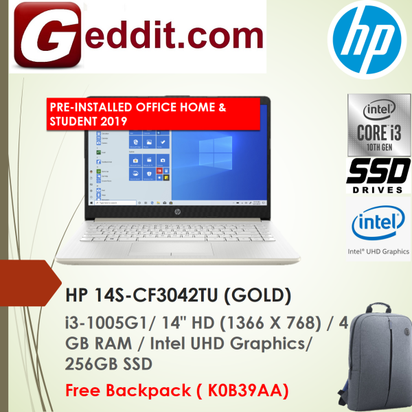 HP 14S-CF3042TU  / 14S-CF3043TU LAPTOP (I3-1005G1,4GB,256GB SSD,14 HD,UHD GRAPHICS,WIN10) FREE BACKPACK + PRE-INSTALLED OFFICE H&S 2019 Malaysia