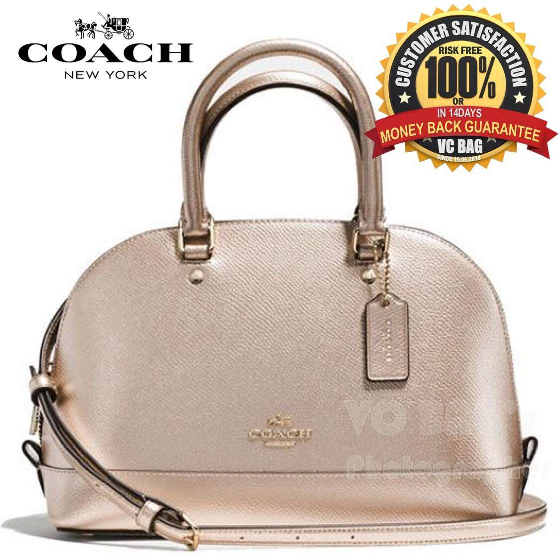 COACH F56190 Mini Sierra Satchel in Metallic Crossgrain Leather Bag   Imitation Gold Platinum  7a40ee03e9aa2