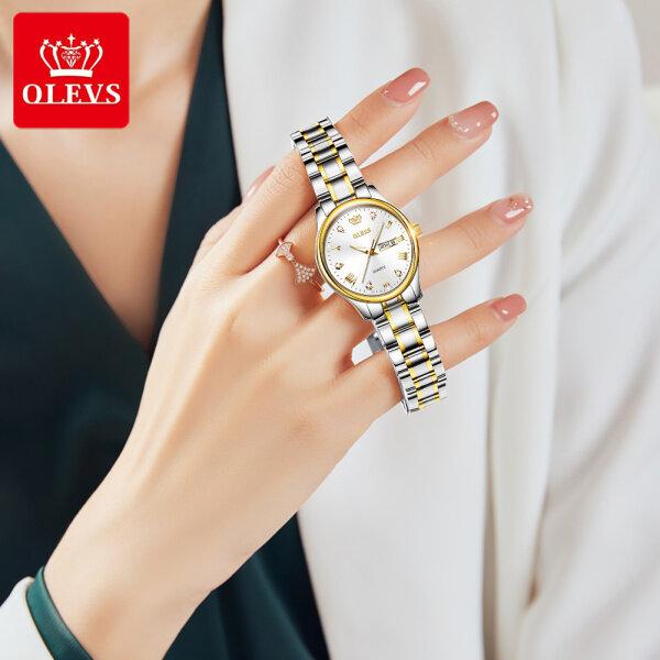 Đồng hồ nữ phong cách Hàn Quốc thanh lịch mặt kính thạch anh dây thép không gỉ chống nước OLEVS bán chạy