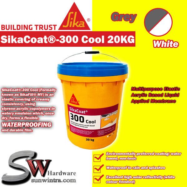 SIKA SikaCoat®-300 Cool 20KG Multipurpose Elastic Acrylic Based Liquid Applied Membrane GREY/WHITE