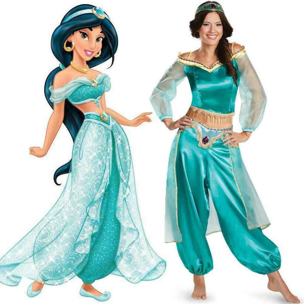 Halloween Aladdin Princess Jasmine Adult Ladies Suit Cosplay Dress Costume Gfit