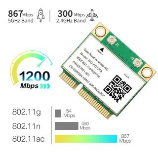 Card Mạng WiFi Mini PCI-E 7265AC Không Dây 1200Mbps Bộ Chuyển Đổi Máy Tính 802.11ac BT4.2 thumbnail