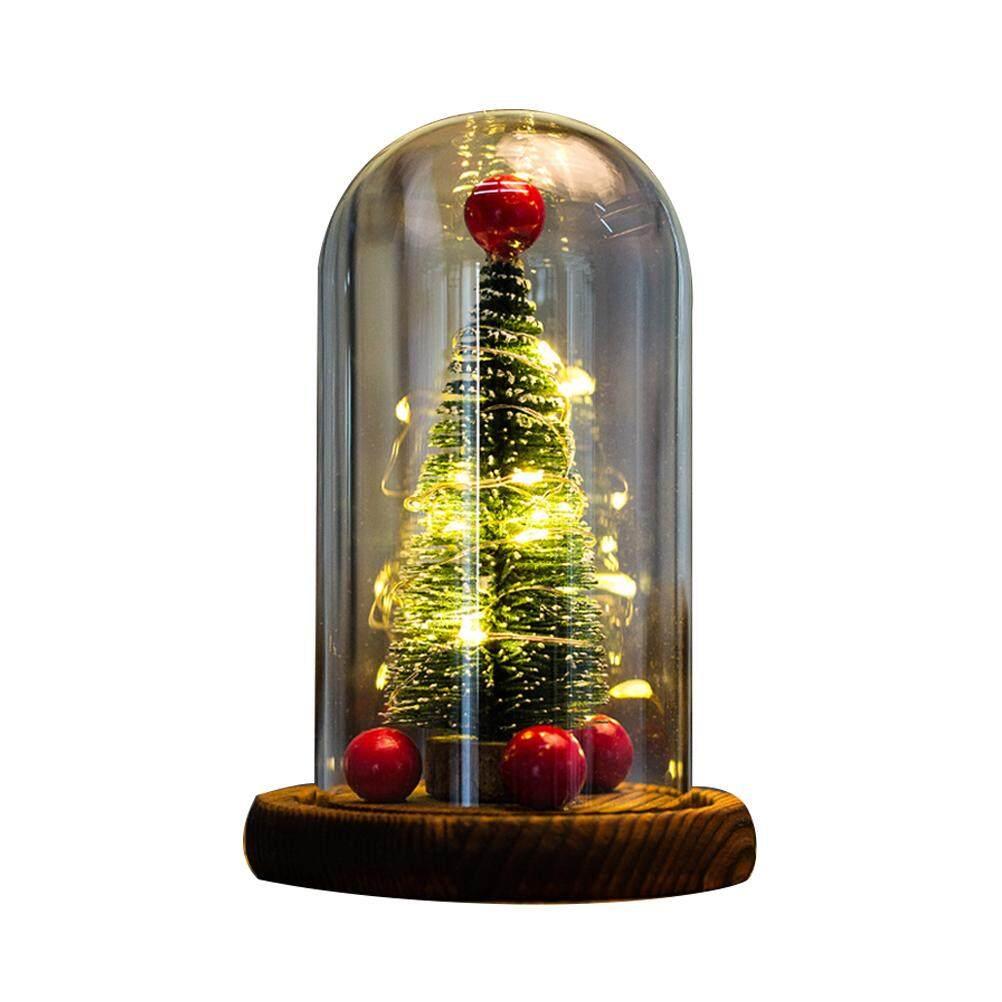 Tavey Cây Giáng Sinh LED Đèn Ngủ Để Bàn Trang Trí với Kính Lễ Hội Trang Trí Quà Tặng Giáng Sinh