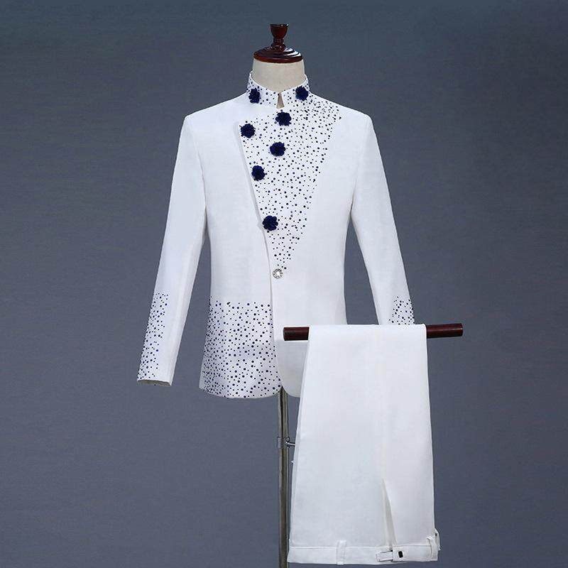 18th Century White Mens Two-Piece Prom Suits Retro Blue Diamond Chinese Tunic Suit & Blazer Costumes S-2xl By Yangs House.