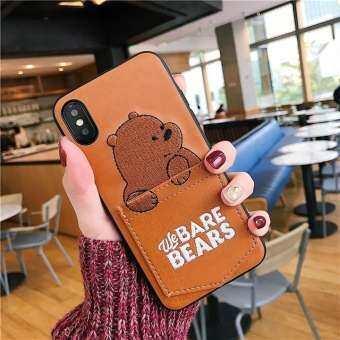 Luxury การ์ตูนหนัง PU หมีเคสโทรศัพท์สำหรับ iPhone X XS MAX XR น่ารัก 3D เย็บปักถักร้อยเราหมี Bare Bears นุ่มเคส TPU การ์ด SOT บัตรเครดิตกระเป๋าเก็บบัตรกระเป๋าสตางค์ Fundas สำหรับ iPhone 8 PLUS 7 Plus 6 วินาที 6 Plus