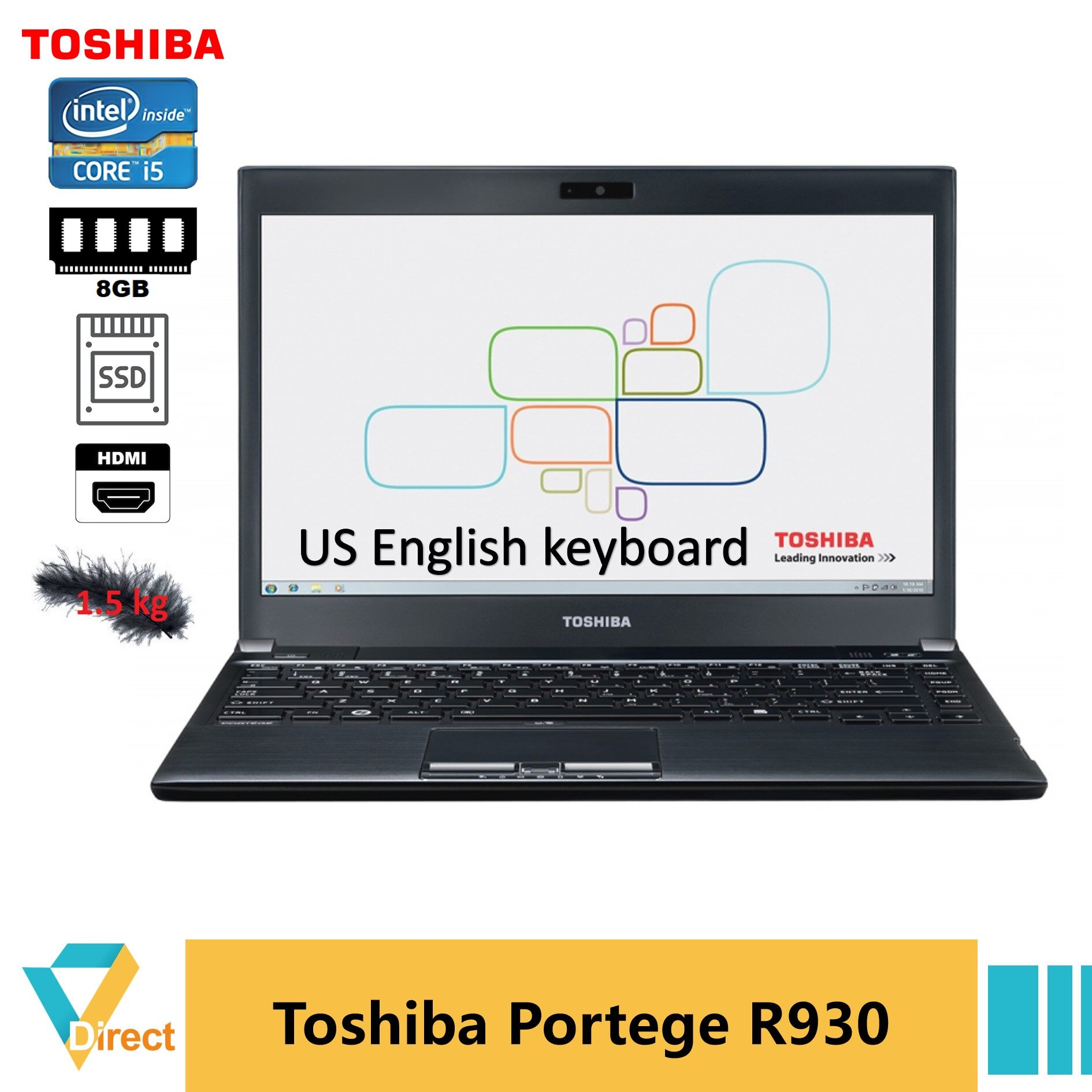 US keyboard HDMI 1.5 kg Up 8GB RAM NEW 240GB SSD Core i5 Toshiba Portege R930 laptop PC Ultrabook fully refurbished notebook Malaysia