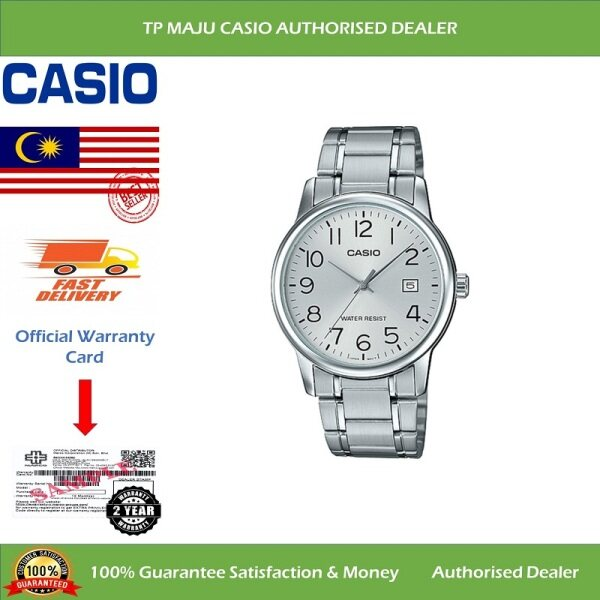 [PRE-ORDER] CASIO MTP-V002D Analog Men's Casual Formal Luxury Watch Water Resistant Silver Dial with Date Display & Stainless Steel Band for Men - MTP-V002D-7BUDF ( Official 2 Years Warranty ) Courier in 7 days (ETA: 2021-09-24) Malaysia