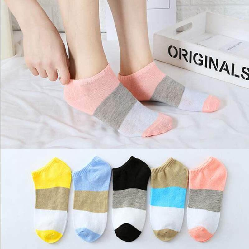 bbf0b450a58dd 5 Pairs/Lot Summer Socks Cotton Women Sock Candy Color Striped Low Ankle  Short Socks