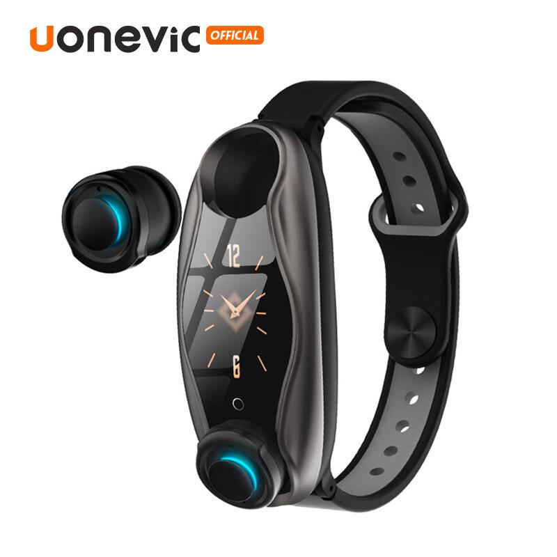 Uonevic T90 Đồng hồ thông minh 2 trong 1 thiết kế dây đeo tay kiểu dáng thể thao có tai nghe không dây kết nối Bluetooth chip xử lý 5.0 chỉ số chống thấm IP67 - INTL