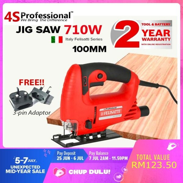 4S Professional Jig Saw Heavy Duty 650W 100mm - Italy Trusted Woodworking Jigsaw Series