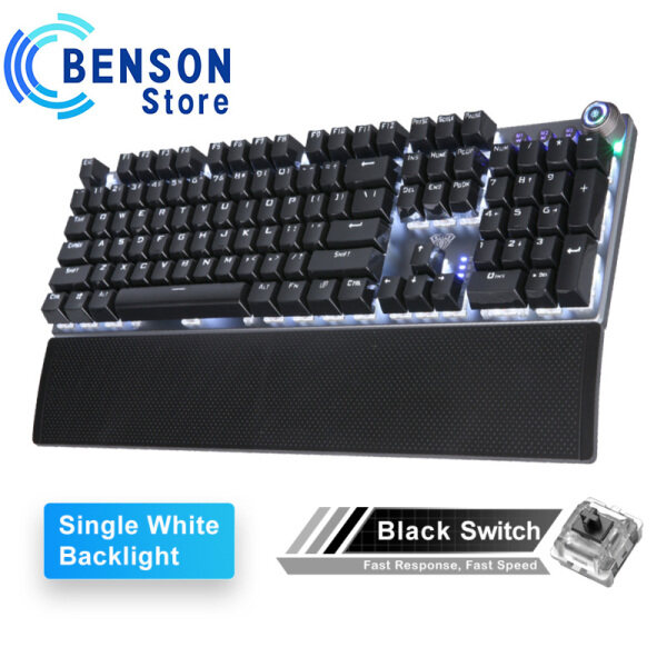 AULA F2058 / F2088 mechanical gaming keyboard is suitable for computer gamers, wrist rest multimedia knob Marco programming metal panel LED backlight keyboard Singapore