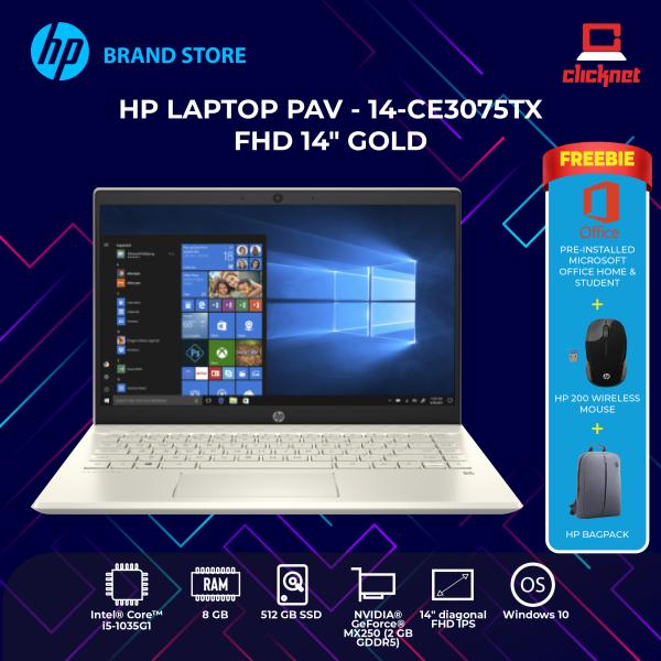 HP PAVILION LAPTOP 14-CE3075TX Gold (i5-1035G1, 8GB, 512GB, MX250 2GB, FHD IPS W10) Malaysia