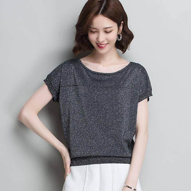 Áo thun nữ tay ngắn chất liệu lấp lánh co dãn nhẹ size lớn - INTL