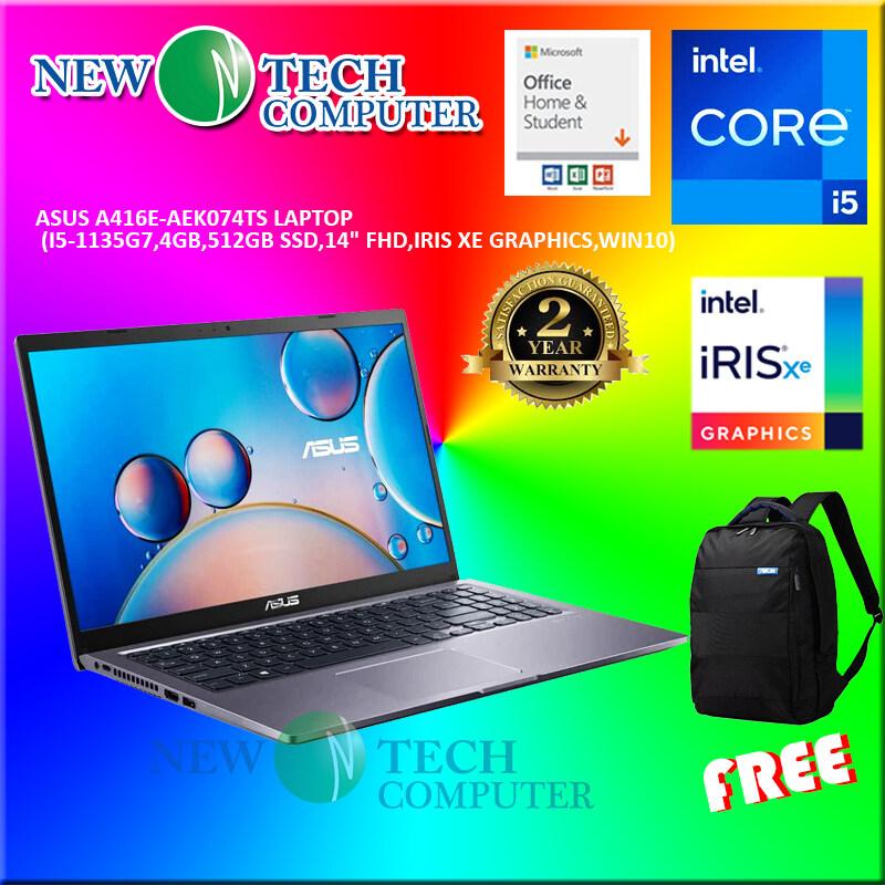 LAPTOP ASUS A416E-AEK074TS LAPTOP (I5-1135G7,4GB,512GB SSD,14 FHD,IRIS XE GRAPHICS,WIN10) OPI GREY Malaysia