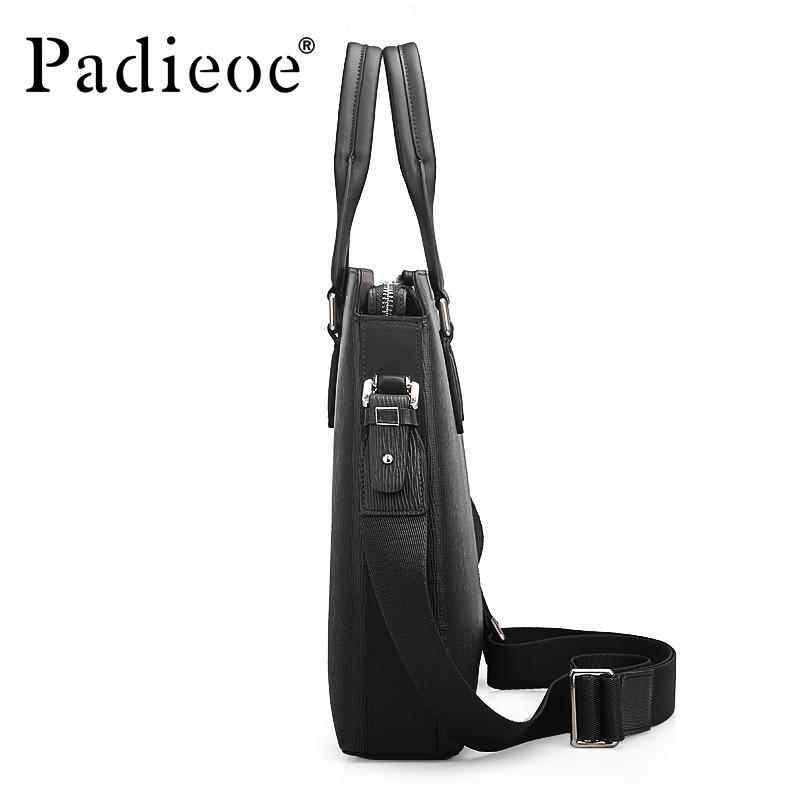 GoodGoal Padieoe Mens Combination Fashion Business Bag Mens Luxury Tote Design 15 inch Leather Mens Bag Mens Laptop Bag