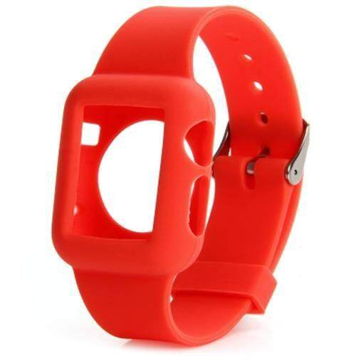 42MM SOLID COLOR SILICONE MATERIAL WATCHBAND WITH BUCKLE CLASP FOR APPLE WATCH (RED)
