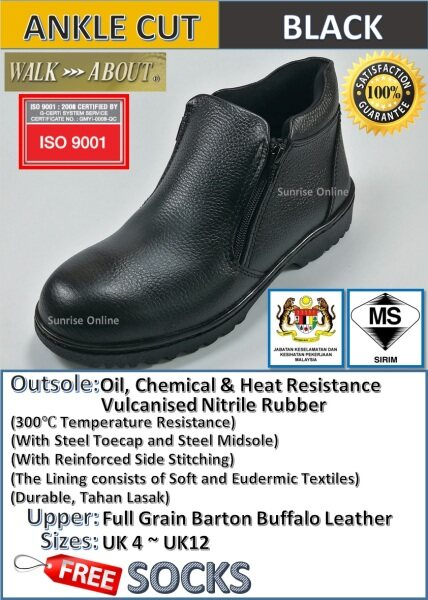 WALK ABOUT ZIP-UP SAFETY SHOES - ANKLE CUT (DURABLE, HEAVY DUTY, INDUSTRIAL USE, COMFORTABLE) [Kasut Safety Yang Terbaik]