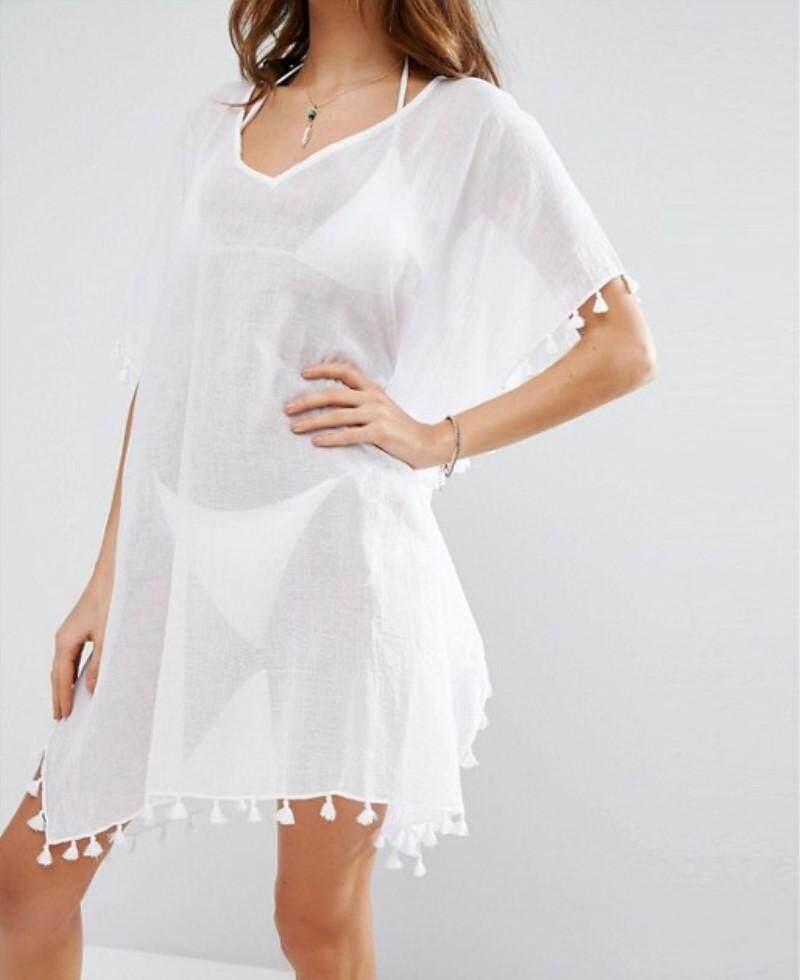 b031a94390 Women's Stylish Chiffon Tassel Beachwear Beach Swimwear Cover up Dress Swimsuit  Cover Up Dress Kaftan Bikini