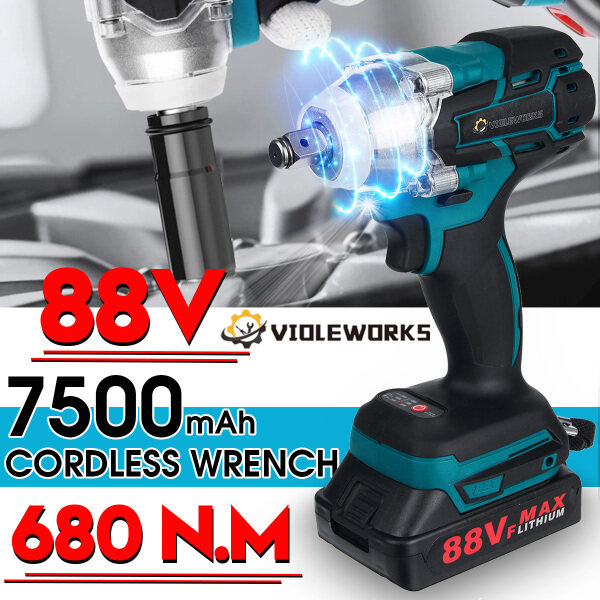 88VF 1/2 Driver 680N.m Electric Wrench Cordless Brushless Impact Wrench with Battery