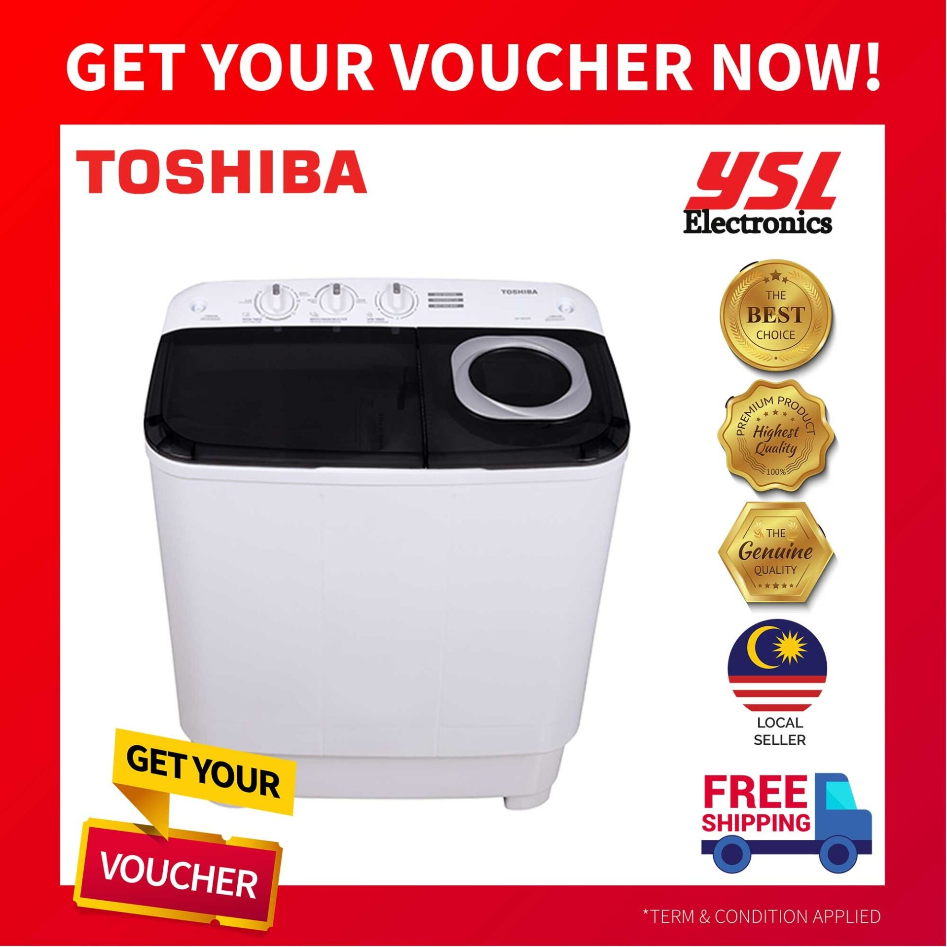 TOSHIBA VH-H95MM SEMI AUTO WASHING MACHINE 8.5KG + *FREE SHIPPING!*