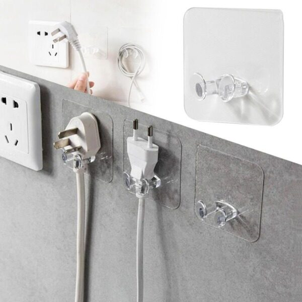 1/5/10 PCS Strong ransparent Adhesive Hook Power Plug Socket Hanger Holder Wall Mounted Self Sticky Hooks Multi-function Wall Storage Hooks