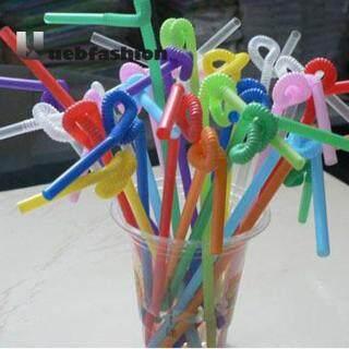 100 Chiếc Nhựa Dẻo Uốn Cong Màu Sắc Tổng Hợp Đảng Ống Hút Uống Nước Dùng Một Lần thumbnail