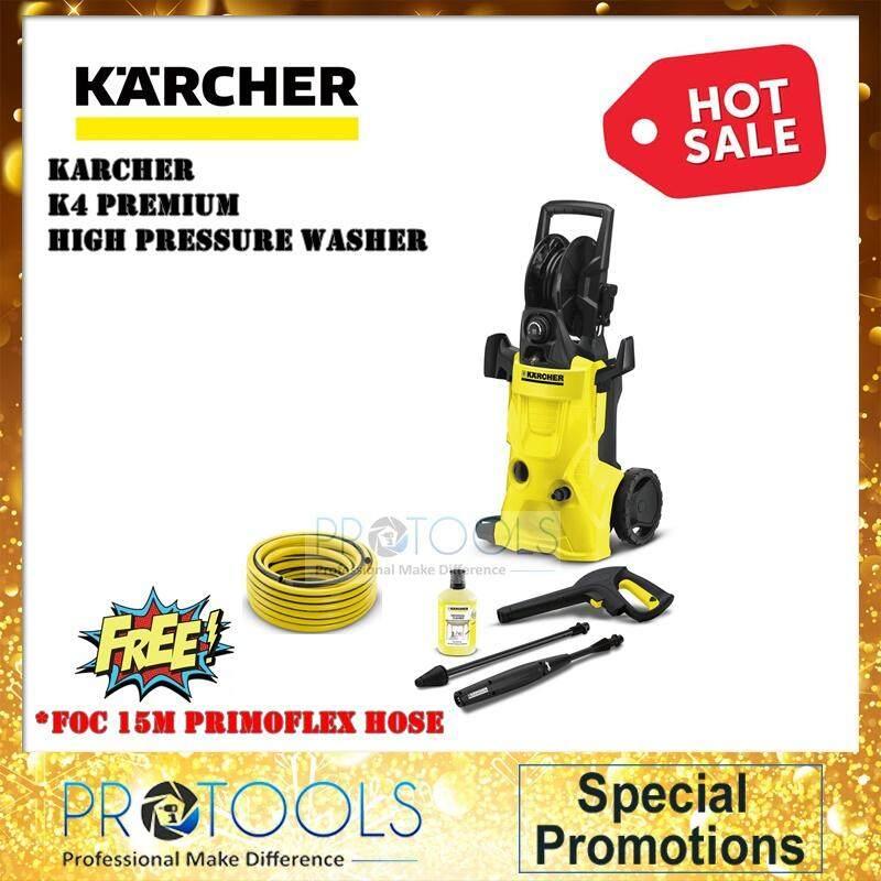 Karcher K4 Premium High Pressure Washer + Detergent, Universal Cleaner + 1 PRIMOFLEX HOSE