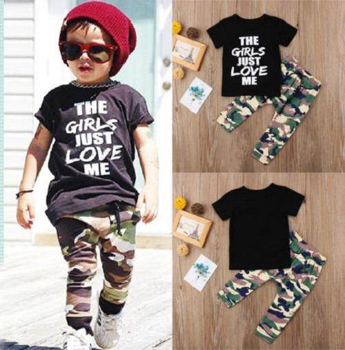 Toddler Baby Boy Summer Cloth Short Sleeve Casual T-shirt Camouflage Top Sunsuit