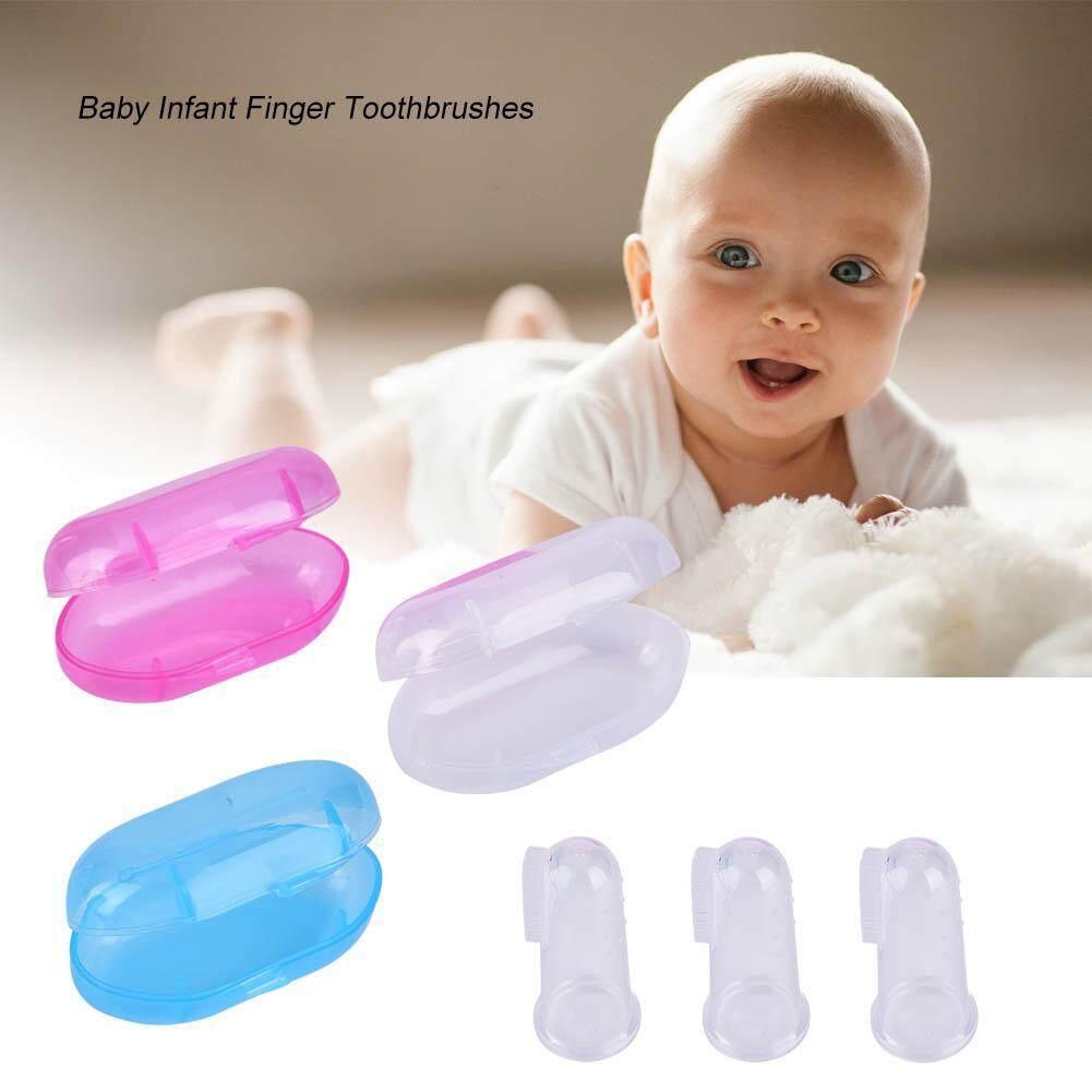 Bé Trẻ Em Trẻ Sơ Sinh Silicone Ngón Tay Bàn Chải Đánh Răng có Ốp Lưng Bàn Chải Lưỡi Khoang Miệng Dụng Cụ Vệ Sinh