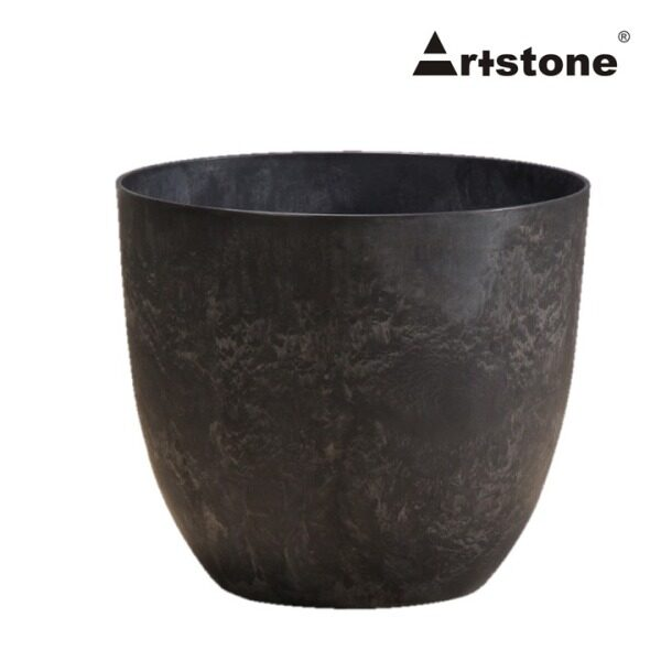 Artstone+ Decorative Flower Pot / Pasu Bunga Hiasan / Indoor and Outdoor / Lightweight / Self-Watering Drainage System / Modern Marble Stone Look / Bola D33 H29