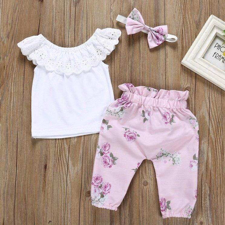 Summer Toddler Girl Sleeveless Lace Collar T-Shirt Blouse Tops Floral Pants With Headband Casual Outfits By Ropalia Store.