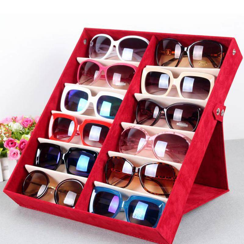 XJING- 1pcs Thick Foldable Glasses Display Case 12 Pairs Sunglasses Glasses Storage Holder