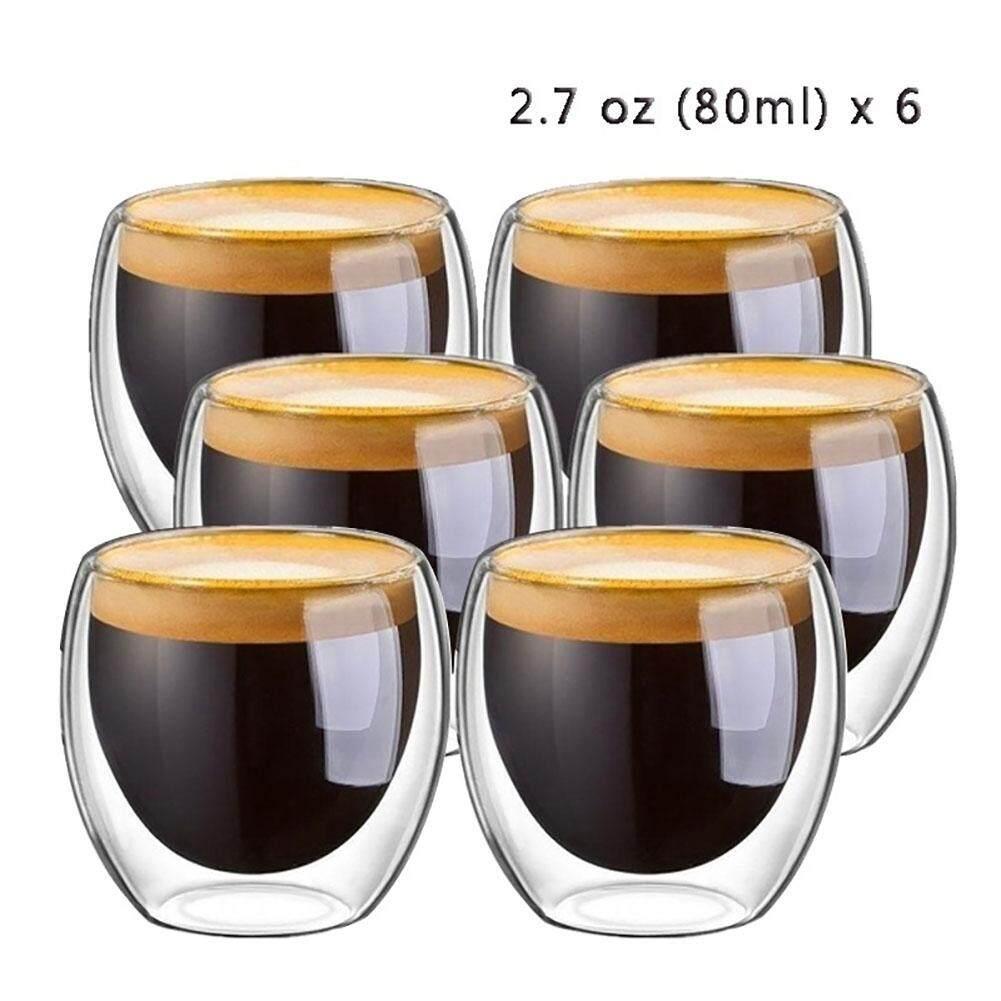 Laputa 6Pcs 80ml 2.7oz Glass Double Walled Heat Insulated Tumbler Espresso Tea Cup