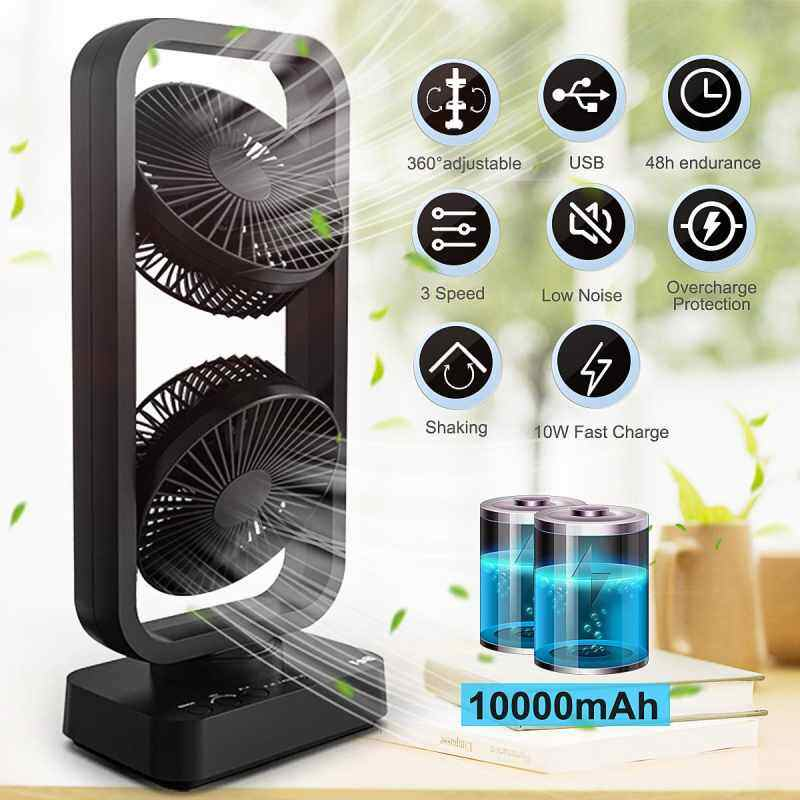 Finemall Mini Portable USB Cooling Air Double Tower Fan Desk 10000mAh Rechargeable Home