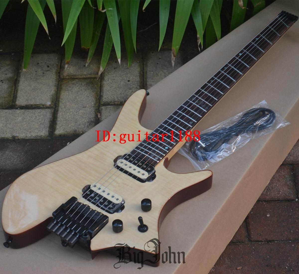 Mới Quạt Fretted Không Đầu Đàn Guitar Điện, Gỗ Hồng Sắc Ván Trượt Ngón Tay Ngọn Lửa Phong Top Gỗ Gụ Cơ Thể HG-64