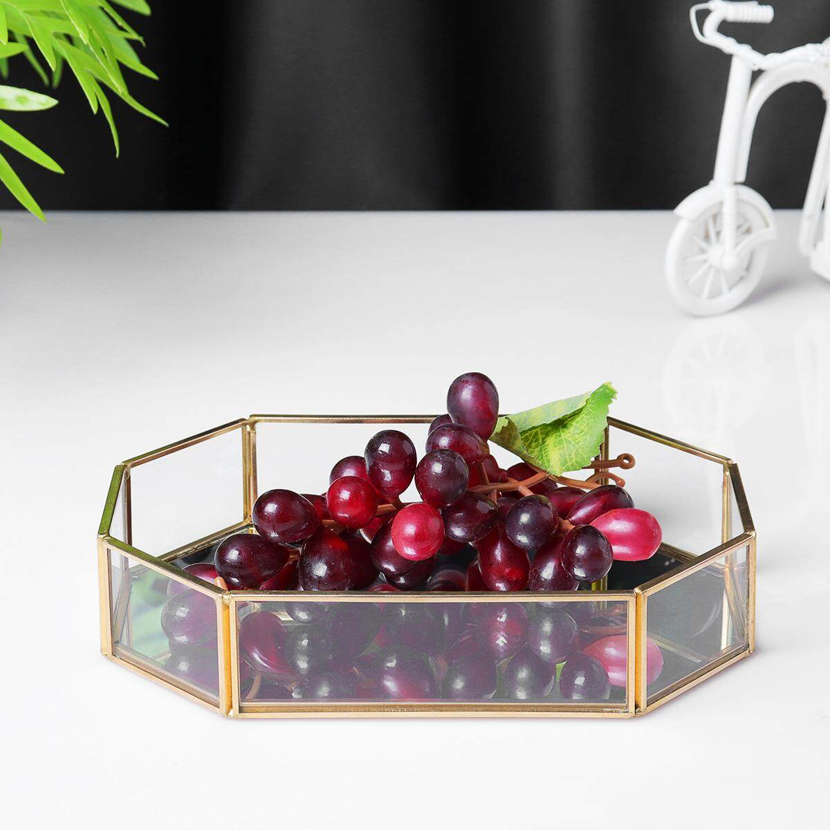 Silver Metal Octagon Shape Serving/dressing Table Tray With Mirror Glasss Size By Freebang.