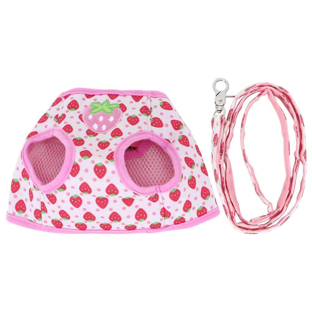 No Pull Adjustable Cat Harness  with Leash Pet Vest Quality Polyester Small,Pink