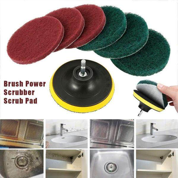 [ Stock ] 8 Pieces of 4-inch Electric Drill Brush Scrub Pad Grout Drill Scrubbing Brush Cleaning Brush Bathroom Cleaning Tool Set